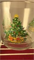 Vintage Christmas Barware Ice Bucket and 3 Rocks
