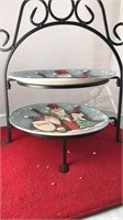 Ceramic Christmas Plates on Metal Serving Stand