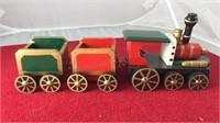 "Vintage 3 Pc Wooden Christmas Train 11"" Long"