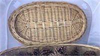 Wicker Basket  With Lid Filled With Pinecones