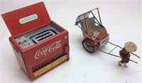 COCA COLA COIN BANK COOLER & CUSTOM COKE RICKSHAW