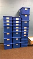 3 Stacks of Blue Container Totes