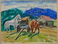 """1946 Preston Blair, Watercolor """"Farm Scene"""""""