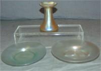 Three Piece Art Glass Lot.