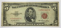 1953 $5 Red Seal Star Note F-VF