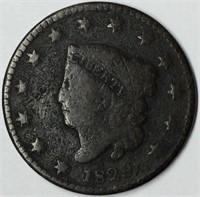 1829 1C Coronet Head Large Cent G Details