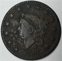 1828 1C Coronet Large Cent Narrow Date F Detail