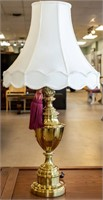 Furniture Pair Stiffel Brass Lamps w/ Shades