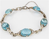 Jewelry 14kt White Gold Aquamarine Bracelet