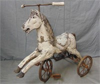 Folk Art Style Wood Carved Child's Horse Tricycle