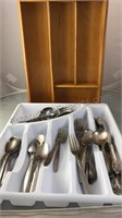 Plastic Tray of Stainless Flatware With Wooden