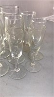 """Collection of 4"""" Tall Clear and Etched Glass Bar"""