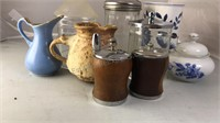 Vintage Wood Salt and Pepper Shakers with a