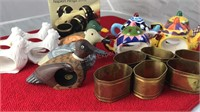 Collection of Metal Ceramic and Wood Napkin Rings