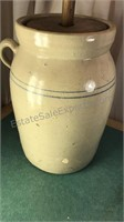 """Antique Butter Churn Crock 30"""" Tall from Handle"""