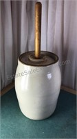 """Antique Butter Churn Crock 22"""" Tall from Handle"""