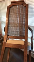 Vintage Wooden Dining  Arm Chair With Cane Back