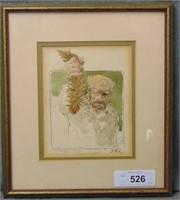 Thomas B Allen  (1928 - 2004) Pen and Watercolor.