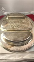 2 Vintage Oval Shaped Plated Metal Serve Trays