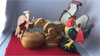 Collection of Wooden Figures Tallest Rooster is