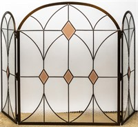 Stained Glass Style Fireplace Screen