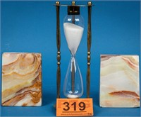 Bomel Onyx Bookends & Vintage Hourglass