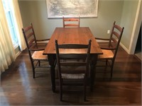 Pine Farm Table with 4 Ladder Back Chairs.