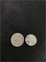 One Elizabeth II coin and one French coin