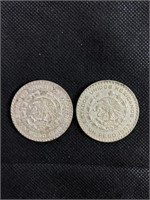 2 Mexican 1 peso coins from 1966 and 1963