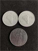 3 Italian coins