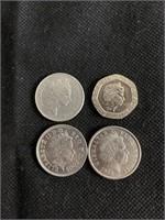 4 Queen Elizabeth coins