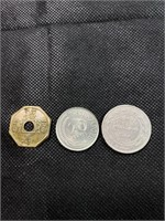 Japanese, Singapore and Arabic coins