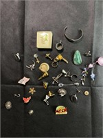 Assorted pins, nicknacks and jewelry