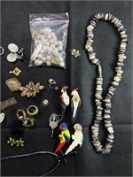 Large lot of Assorted pins and jewelry