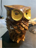 Wine pitcher, pigeon sculpture, owl sculpture