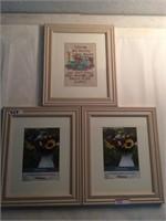 Three framed wall art