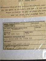 Vintage church program, army pass & newspaper