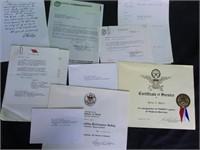Vintage certificates & executive correspondence