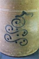 Cobalt Decorated Stoneware Crock