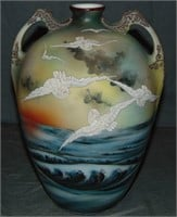 "Moriage. Nippon Vase. 10 1/2"" Tall."