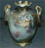 Nippon Moriage Vase. Wasp and Nest.