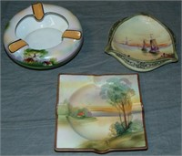 Nippon. Lot of Three Ash Trays.