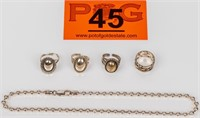 Jewelry Sterling Silver Rings & Chain Necklace