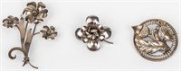Jewelry Lot of 3 Sterling Silver Brooches