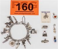 Jewelry Sterling Silver Charm Bracelet w/ Charms