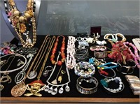 LARGE COSTUME JEWELRY COLLECTION, FULL TABLE