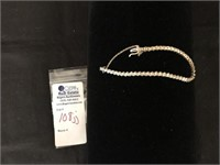 14kt  Gold Tennis Bracelet, Diamond Chips