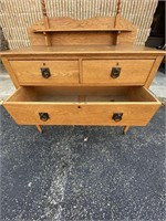 Large wooden dresser with mirror