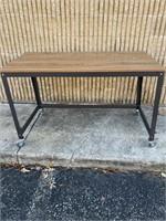Rolling metal frame wooden desk