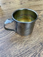 Assorted metal cups, bowls and pouring cup